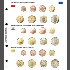 Illustrated coin page for Euro coin sets; Monaco/San Marino/Vatican