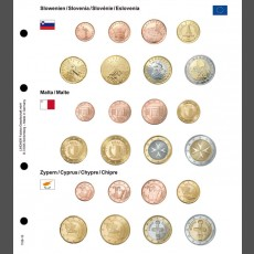 Illustrated coin page for Euro coin sets; Slovenia/Malta/Cyprus