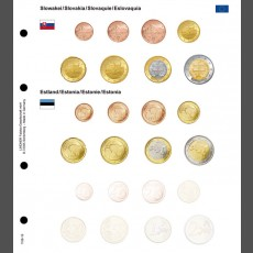 Illustrated coin page for Euro coin sets; Slovakia/Estonia/Latvia