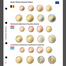 Illustrated coin page for Euro coin sets; Belgium/Netherlands/Luxemburg