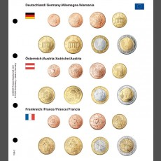 Illustrated coin page for Euro coin sets; Germany/Austria/France