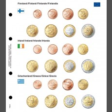 Illustrated coin page for Euro coin sets; Finland/Ireland/Greece