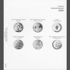 Illustrated page 10 Euro commemorative coins: Germany 2003