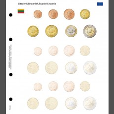 Illustrated coin page for Euro coin sets; Lithuania