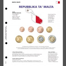 Illustrated  page for Euro coin sets – NEW EURO-COUNTRIES Malta