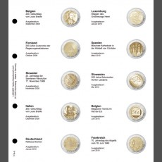 Illustrated page 2 EURO commemorative  chronologically: Belgium 2009 - France 2010