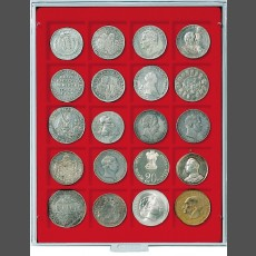 Coin box with 20 square indents for coins / capsules of  47 x 47 mm-gray / red insert