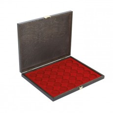 Authentic wood case CARUS-1 with 30 round compartments for single coins in coin capsules with 37 mm diameter