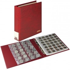 LINDNER Luxury Coin Album, including 10 coin pages-wine-red
