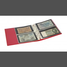 PUBLICA M COLOR Banknote Album two variations, with 10 sheet pages each that can be filled from both sides-Berry