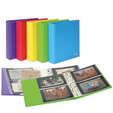 PUBLICA M COLOR Universal Album for Postcards, Photos with 10 divided pages, which can be filled from both sides-Berry