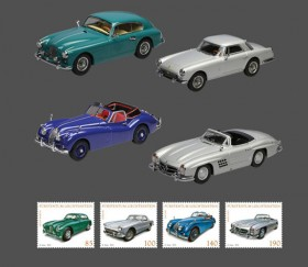 "Model car series: Sports and Touring Cars - Aston Martin DB 2/4 1954 scale 1:43, Ferrari 250 GT PF 1958 scale 1:43, Jaguar XK 140 1955 scale 1:43,  Mercedes 300 SL 1956 scale 1:43 with stamp series ""Sports and Touring Cars"""